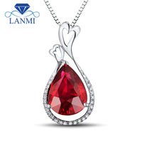 Loving Solid 18K White Gold Heated Ruby Pendant Necklace Real Diamond Gemstone Jewelry for Women Wedding Party