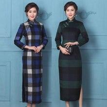 Autumn winter Sexy warm woolen cheongsam dress plaid long sleeve vintage length Chinese woman Qipao Party show