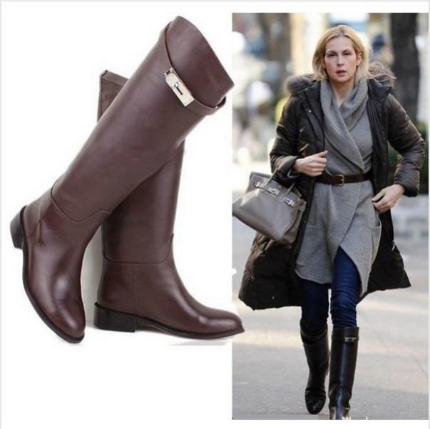 Aliexpress.com : Buy EURO Buckle Strap Women Knee High Flat ...