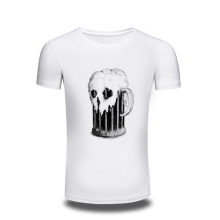 3d Skull & Beer Printed T-shirt