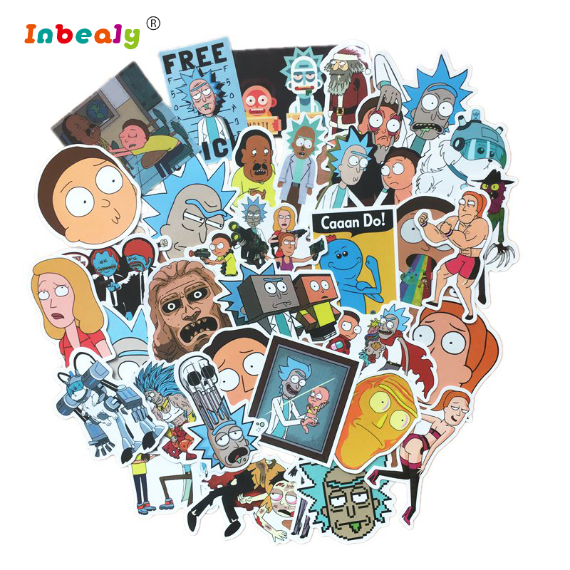 35Pcs/Set Rick And Morty Cartoon Pvc Waterproof Sticker For Luggage Skateboard Phone Laptop Moto Trunk Guitar Car DIY Sticker charming diy crystal sticker for car cell phone psp camera color assorted 874 piece sheet