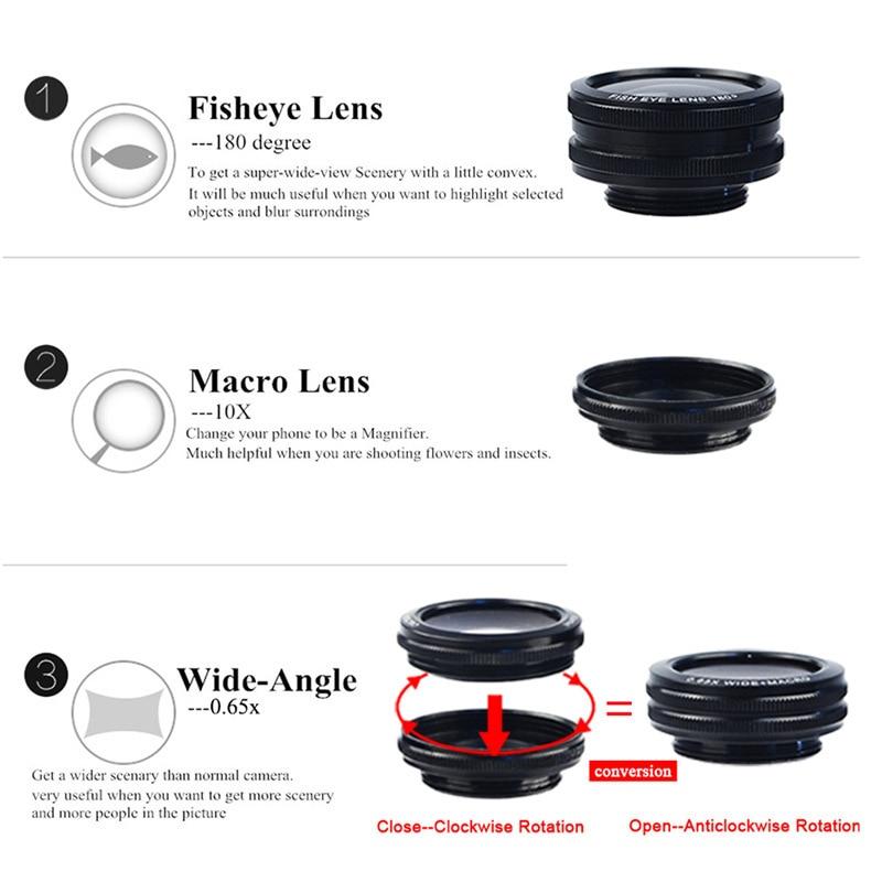 2017 Camera Lens Kit 50X Métal Téléobjectif Zoom Lentes Pour iPhone 7 6 6 s Plus 5 5S SE 4 4S Samsung Fisheye Grand Angle Macro lentilles - 4