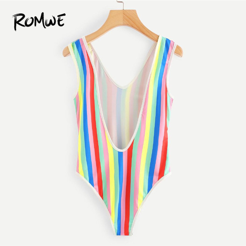 ROMWE V Cut Back Rainbow Striped Bodysuit V Neck Striped Multicolor Bodysuit 20118 Summer Women Fashion Sleeveless Bodysuit