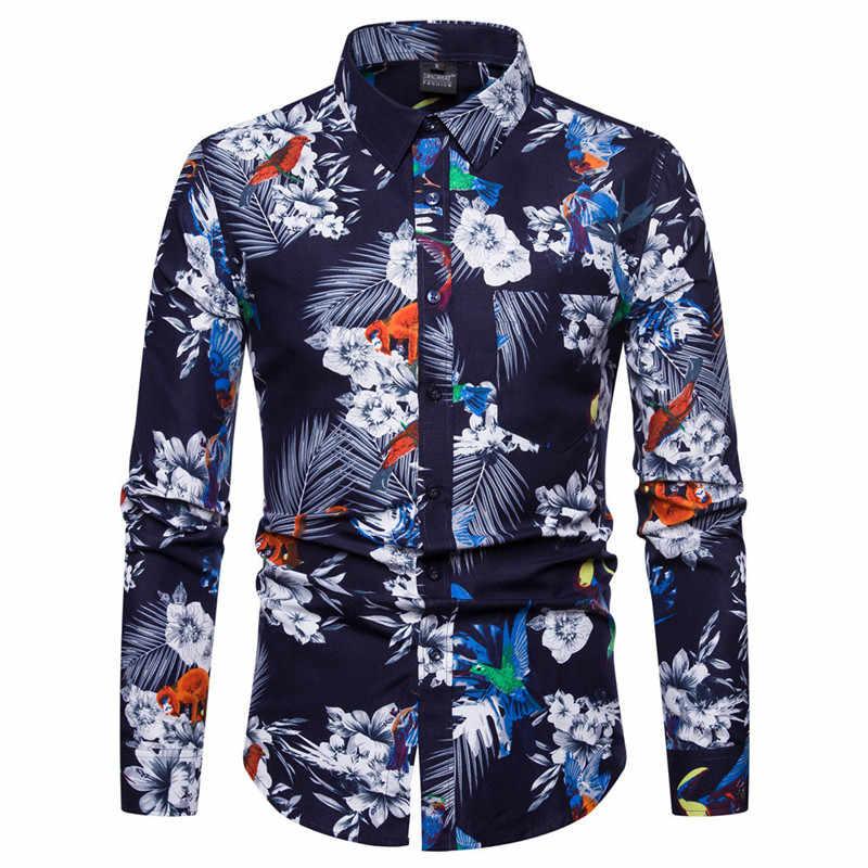 Цветок футболка с цветочным принтом Для мужчин 3D Print Hawaiian shirt 2018 Осень Новый длинным рукавом мужская одежда рубашки Свадебная вечеринка выпускного вечера рубашка Camisa