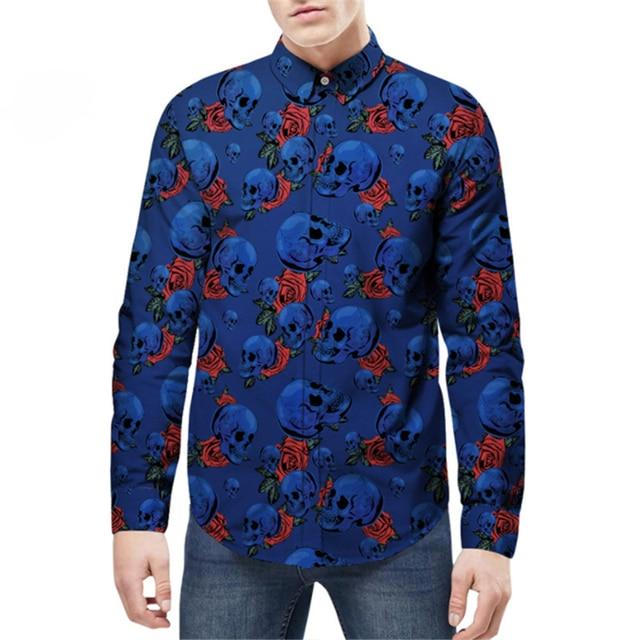 Men Long Sleeve Skull Rose Casual Loose Dress Shirt