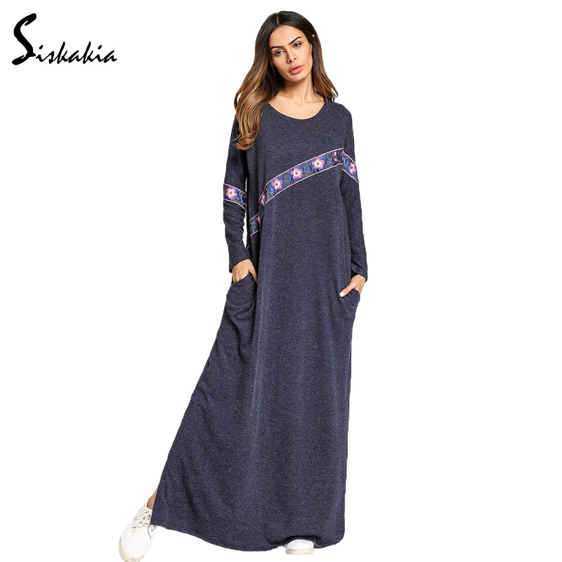Siskakia women casual dresses Spring Autumn 2018 Coloured ribbon chic Embroidery knitted maxi long dress Female loose big size 32 plus big size denim jeans panty women spring autumn 2017 feminina embroidery loose hole denim pants female a3071