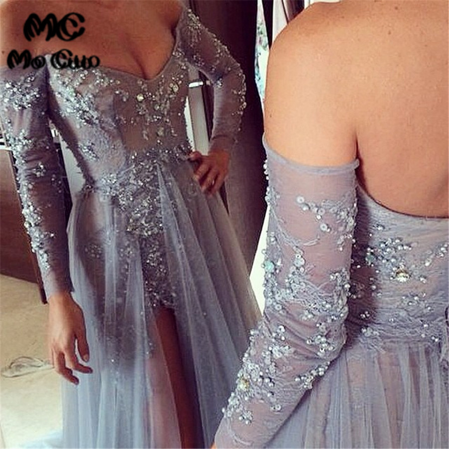 Promotion 2018 Asymmetrical Hi Lo Evening Gown Off shoulder Full sleeve Beads Front Split Long Party Evening dress for women