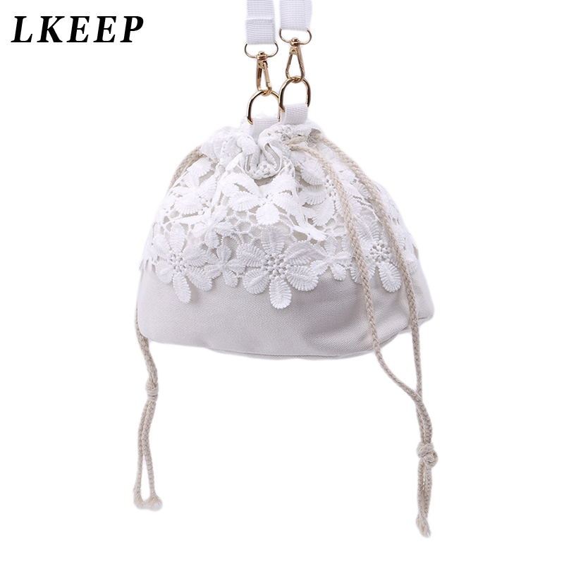 Canvas Bucket Handbags Shoulder Bag Drawstring Shopping Tote Handbags Lace Slung Bag Bags Trendy