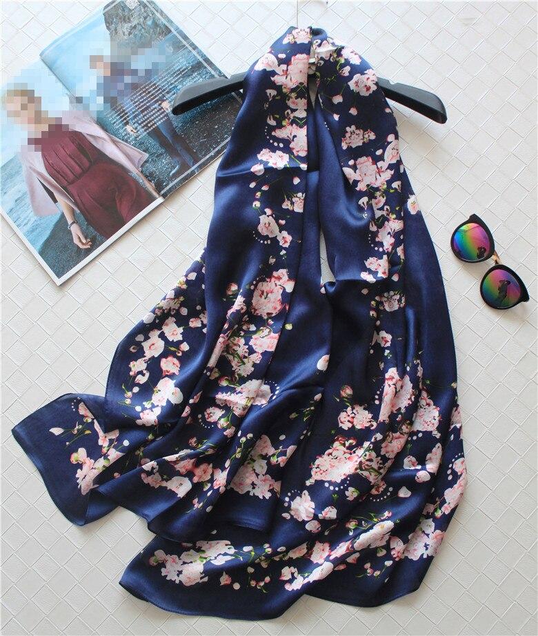 Promos 100% soie femmes printemps automne mode imprimé grand foulard châle pashmina 65x180 cm bleu foncé