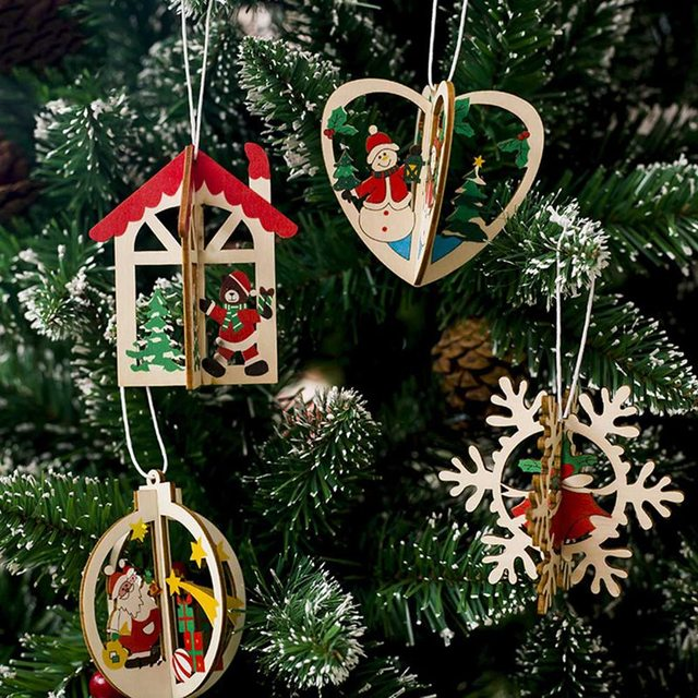 Us 0 67 1pc 3d Creative Wooden Pendants Ornaments Diy Christmas Party Decorations Xmas Tree Ornaments Kids Gift In Pendant Drop Ornaments From