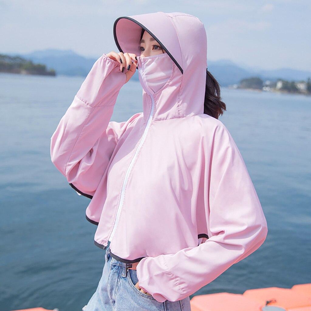 Coat Sun-Protection Clothing Tops Long-Sleeve Waterproof Women Ladies Summer Sport Cardigan