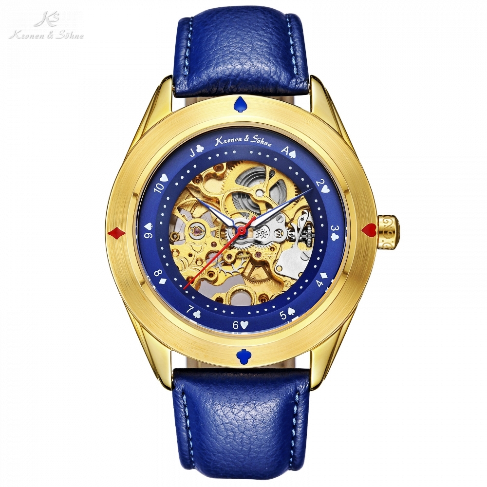 лучшая цена KS Royal Automatic Poker Cards Bezel Golden Skeleton Face Men Blue Leather Band Auto Winding Mechanical Wrist Watch Gift /KS381