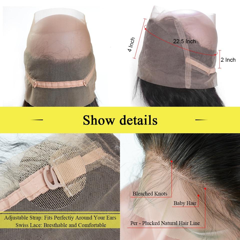 BAISI Body Wave Brazil 360 Lace Frontal 100% Hair Remy Hair Hairline - Rambut manusia (untuk hitam) - Foto 3