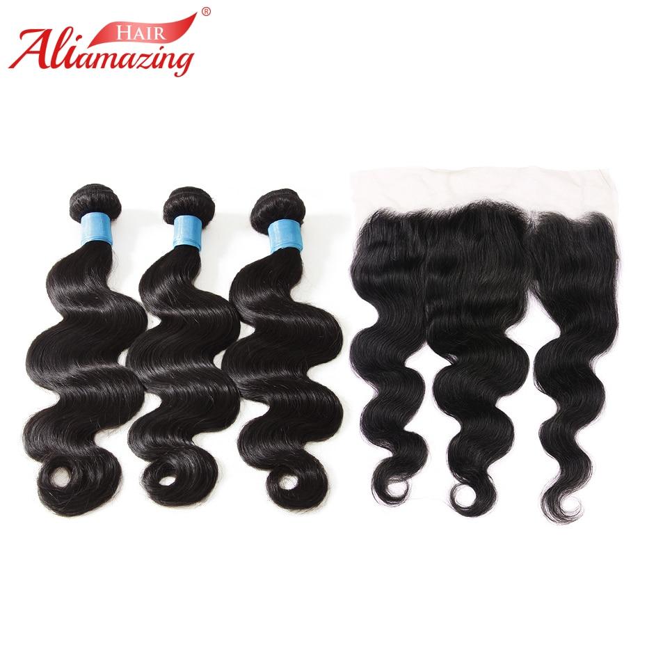 Ali Amazing Hair Brazilian Body Wave Hair 3 Bundles with 13x4 Lace Frontal Remy Human Hair Bundles with Frontal 4pcs/lot #1B