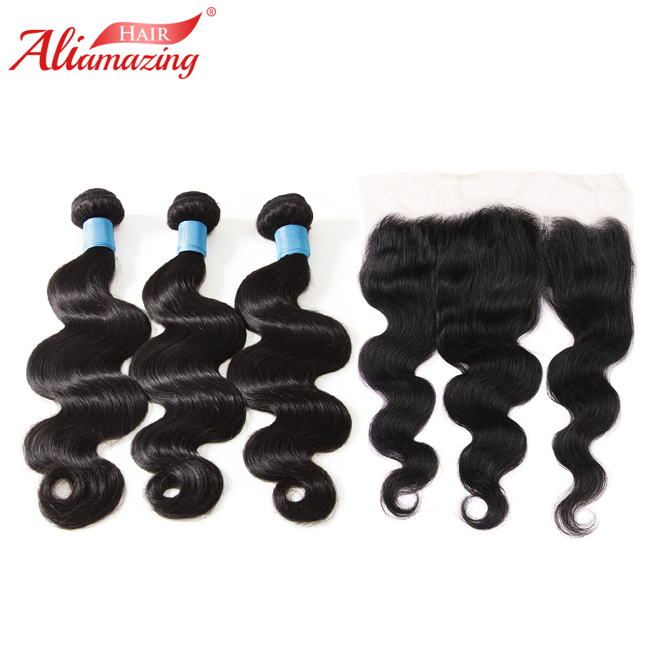 Ali Amazing Hair Brazilian Body Wave Hair 3 Bundles with 13x4 Lace Frontal Remy Human Hair Bundles with Frontal 4pcs/lot #1B