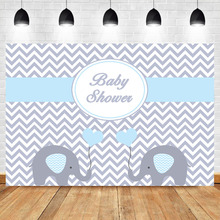 NeoBack Elephant Cute Blue Backdrop Newborn Baby Shower Photo Background 1st Birthday Boy Party Decoration Banner Backdrops