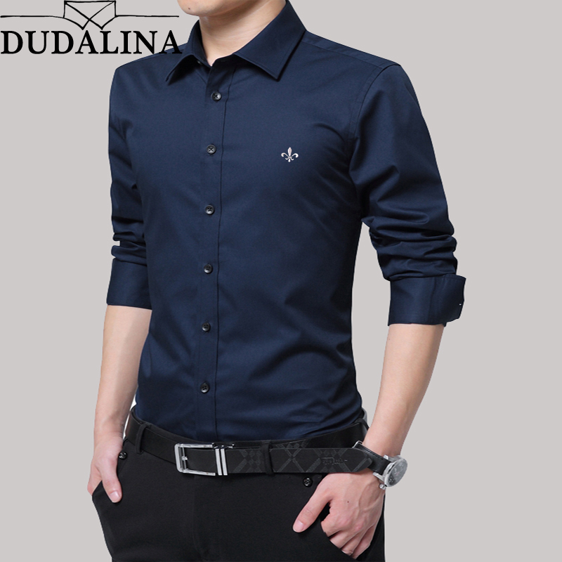 Dudalina Shirt Men No Pocket 2019 Long Sleeve Male Shirt Cotton  Casual High Quality Business Man Shirts Slim Fit Designer Dress