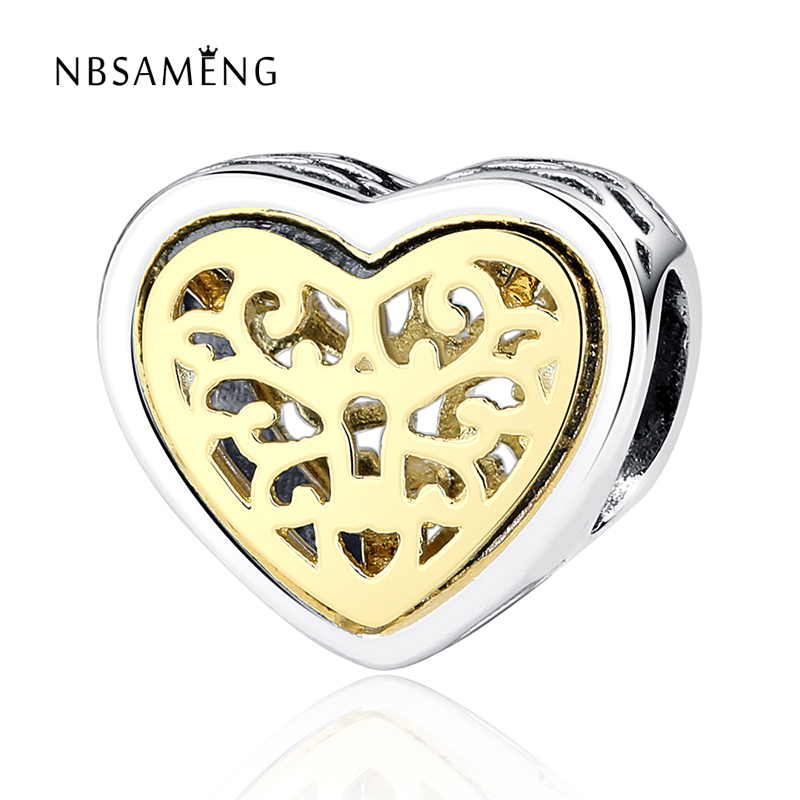 100% Authentic 925 Sterling Silver Hollow Love Heart Gold Charm Beads Fit Pandora Bracelet DIY Original Silver Jewelry