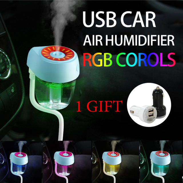 Car Air Humidifier RGB USB Water Fog Aroma Ultrasonic Essential Oils Diffuser Auto Portable Aromatherapy Air Purifier
