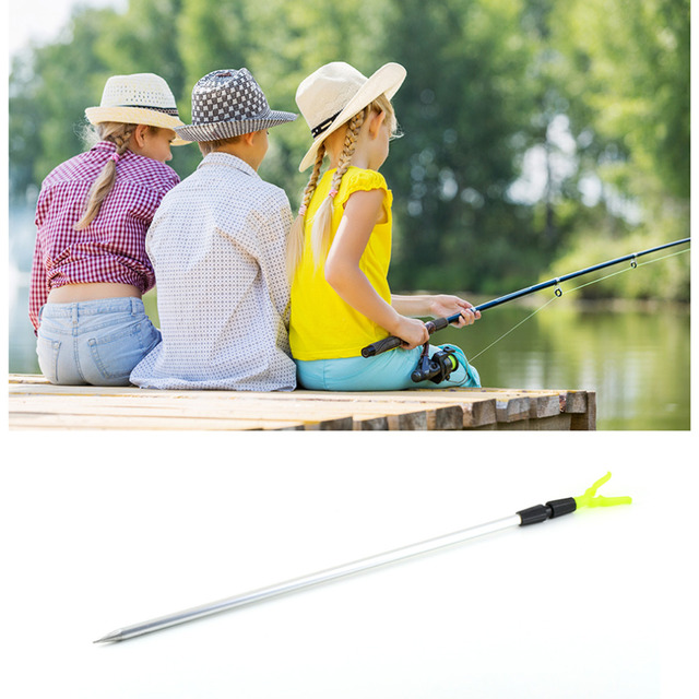 2 Sections Adjustable Aluminium Fishing Rod Pole Rack V Holder Support Stand free shipping