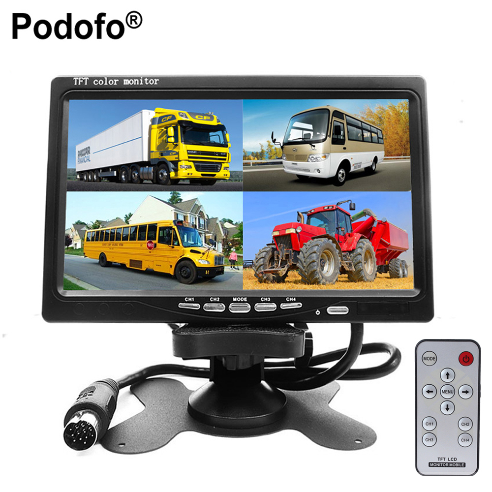Podofo DC12V-24V 7 LCD 4CH Video input Car Video Monitor For Front Rear Side View Camera Quad Split Screen 6 Mode Display