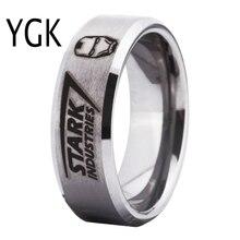 Ygk marca jóias 8mm largura bisel prata com matte centro homem de ferro stark indústrias moda masculino tungstênio anel para casamento