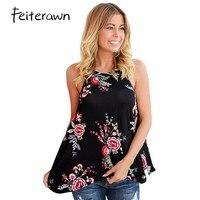 Feiterawn 2017 Blusas Feminino Summer Fashion Tops Women Clothing Sleeveless High Street Floral Print Flowy Tank