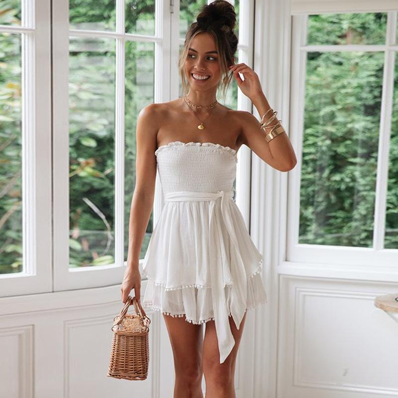 Summer short fashion sleeveless one neck wrapchest ruffled wrapped chest with irregular pleated dresstype jumpsuit