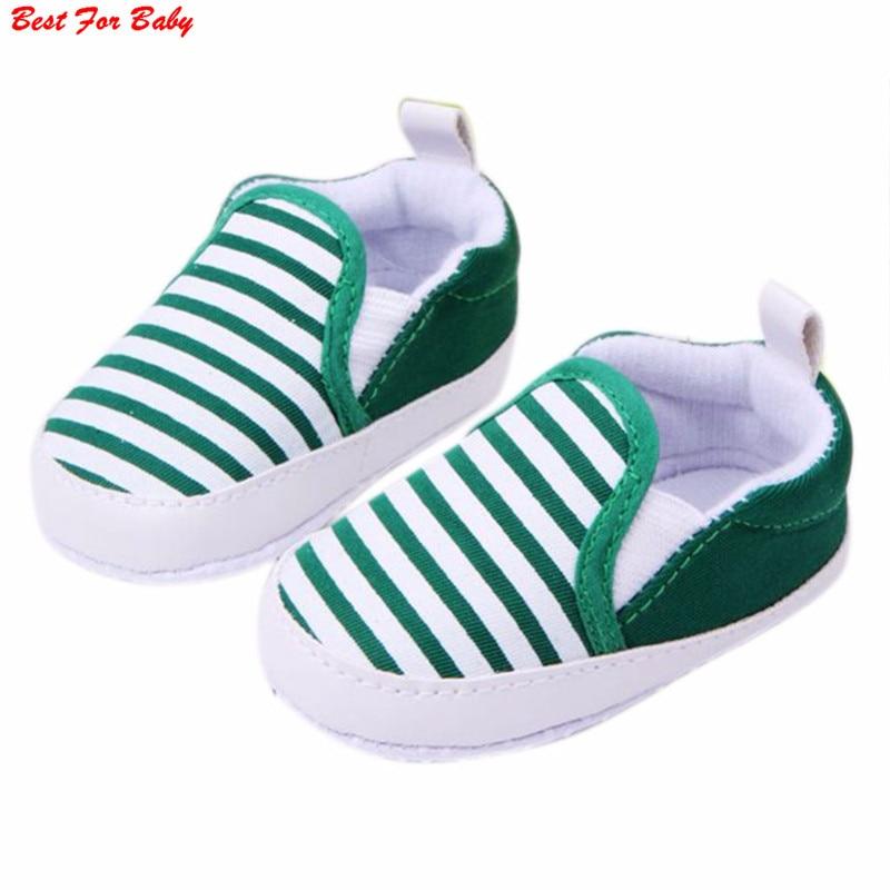 Infant Baby Boys Newborn Slip-on Soft Sole Anti-Slip Striped Pram Crib Shoes