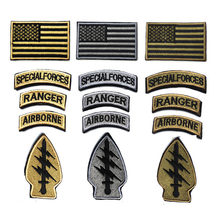 1 Sets SPECIAL FORCES RANGER AIRBORNE Military Tactical Embroidered American Flag Patch Cloth Badge Fabric Sticker For Clothes(China)