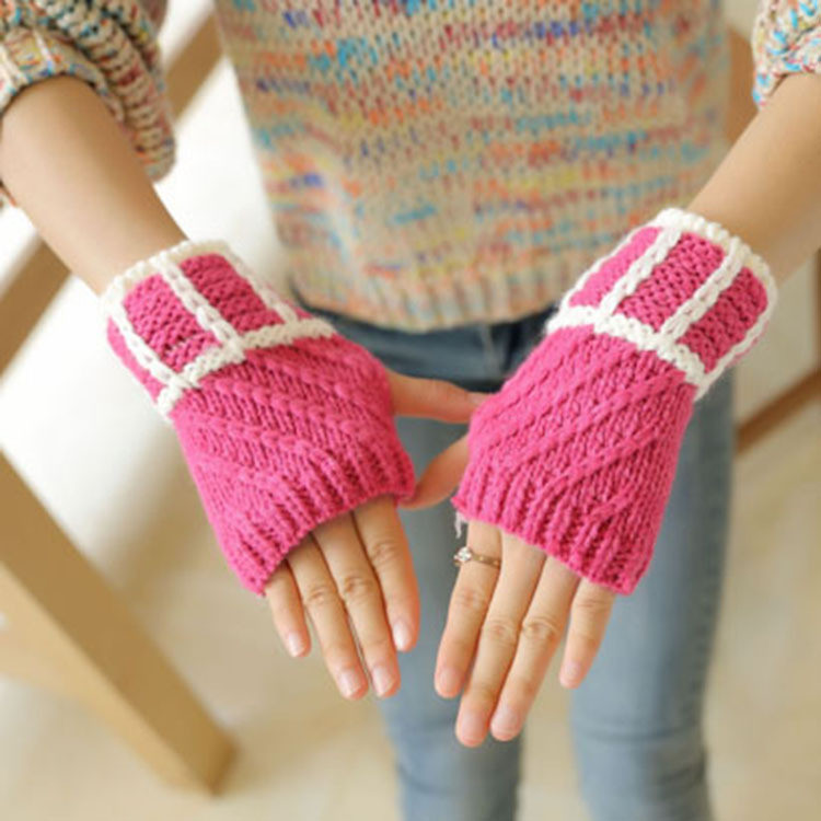 Suche Nach FlüGen Mode Winter Frauen Handschuhe Grid Handgelenk Arm Wärmer Kurze Halbhand Stricken Handschuh Damen-accessoires