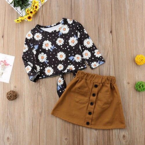 Ngọt ngào Trẻ Em Bé Cô Gái Daisy Floral Tops + Da Lộn Váy 2 cái Trang Phục Quần Áo