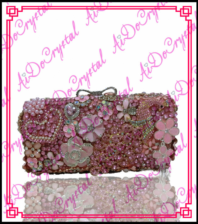 Aidocrystal handmade dazzling pink flower beads clutch handbag for party