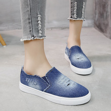 HEE GRAND Canvas Shoes 2019 Women Flats Slip on Loafers Hollow Out Denim Shoe Casual Outdoor Shoe Elastic Summer Creepers XWF710 цены онлайн