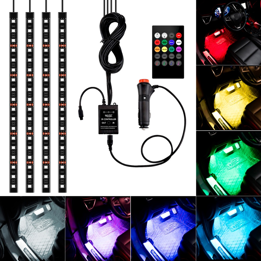 4Pcs RGB LED Strip Light Sound&Music Control LED Strip lights 8 Colors Car-styling Atmosphere Lamps Car Interior Light + Remote