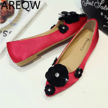 AREQW 2017 New Korean Women's Shoes Flat-bottomed Shallow As The Women's Shoes, Sequins Flowers, Wild-heeled Shoes
