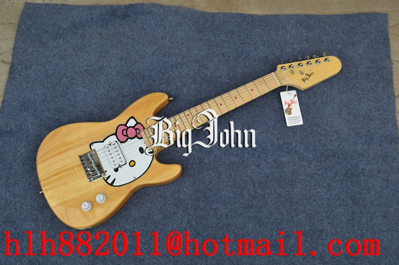 free shipping new Big John single wave mini electric guitar with basswood body in natural   F-3367 free shipping new big john lp electric guitar in blue with mahogany body 1049