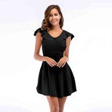 Women clothes 2019 Sweet Beauty Dresses Summer Fresh Sleeveless Lotus Leaf-edge Knitted A-shaped dress sweetwer fresh beauty