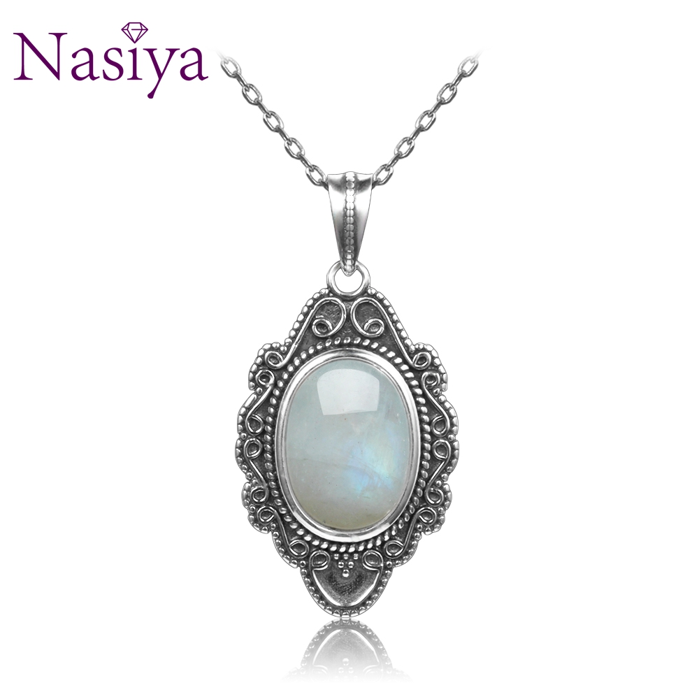 NASIYA Classic Natural Moonstone Necklace Pendants 925 Sterling Silver Jewelry For Women Party Valentine Day Gifts With Chain