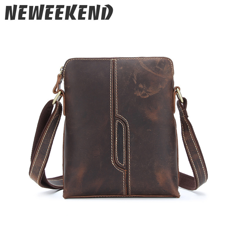 Mens Crossbody Shoulder Messenger Bag Real Cow Leather School Bag Ipad Sling Small Crazy Horse Leather Portfolio Mushi-xy1026 j m d crazy horse leather women flap messenger bag casual sling bag small lady purse c005b