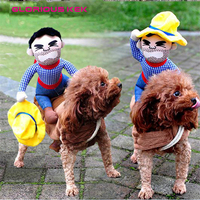 2015 Hot Sale Riding Horse Dog Costume Novelty Funny Halloween Party Dog Costume Dog Clothes Cowboy