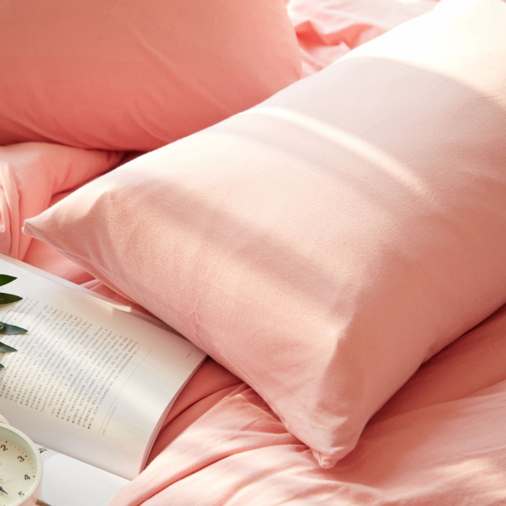Knitted Cotton Teen Girls Bedding Cute Duvet Cover Solid Color Quilt Cover Set Pink Bedding Set Cover for Bed for Beauty AWJT-1