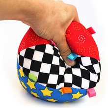 Free shipping, 2015 New Arrivals Colorful Baby Childrens Ring Bell Ball Toy Ball, Educational cotton Toys