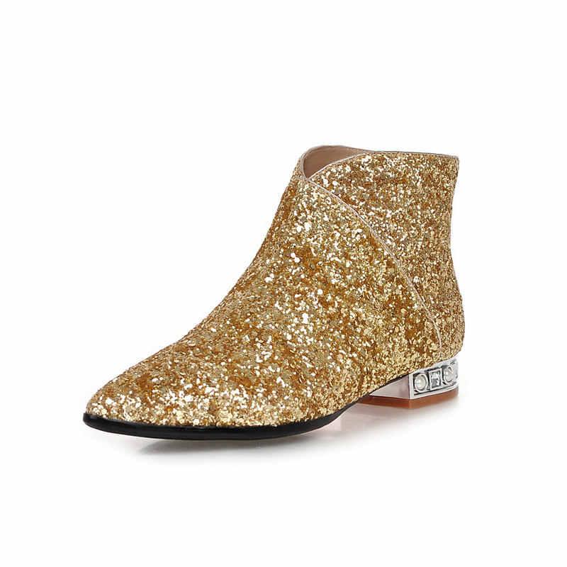 עם הנוחות שטוחה הבוהן מחודדת מגפי קרסול אישה האופנה בלינג נעלי ציפר המפלגה אשת החורף השחור כסף זהב לבן