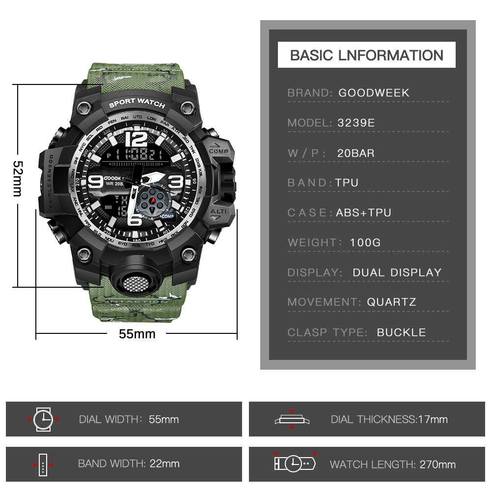 Reloj deportivo GOODWEEK para hombre, reloj militar de camuflaje, impermeable, reloj de doble pantalla, relojes de estilo g, reloj de choque, reloj Masculino