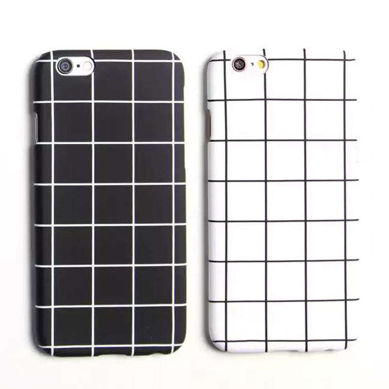 "New Fashion Simple Black White Grid Phone Case For iPhone 6S 4.7"" Phone Cases Back Cover For Apple iPhone 6 Plus 6S Plus 5.5"""