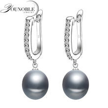 цены Real freshwater grey pearl earrings for women,classic 925 sterling silver earrings birthday gift