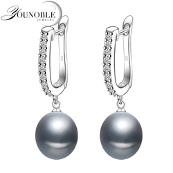 Real freshwater grey pearl earrings for women,classic 925 sterling silver earrings birthday gift