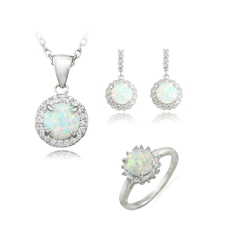 HAIMIS Noble White Fire Opal Jewelry Sets Necklace Pendant Earring Ring For Women Bridal Sets Free Gift Box TZR863