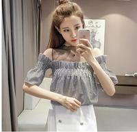 Chiffon loose led a word gauze splicing horn sleeve shirts that show a shoulder